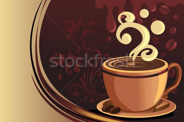 Koffiemok ontwerp chocolade achtergrond cafe tekening Stockfoto © artisticco