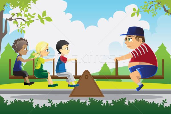 Saldo grande criança jogar ver serra Foto stock © artisticco