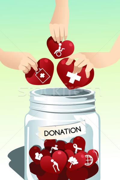 Készít adomány emberek kezek csapat rajz Stock fotó © artisticco