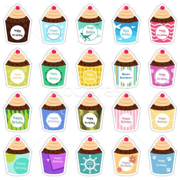 Birthday cupcakes icons Stock photo © artisticco