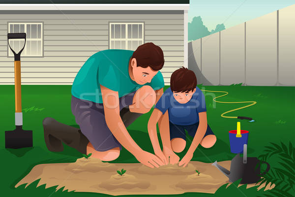Father and son working on a flower garden Stock photo © artisticco