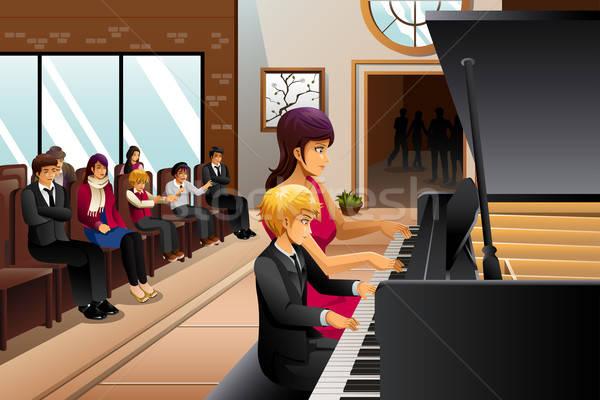 Boy in Piano Recital  Stock photo © artisticco
