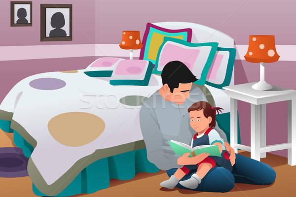 Apa esti mese lánygyermek történet hálószoba ház Stock fotó © artisticco