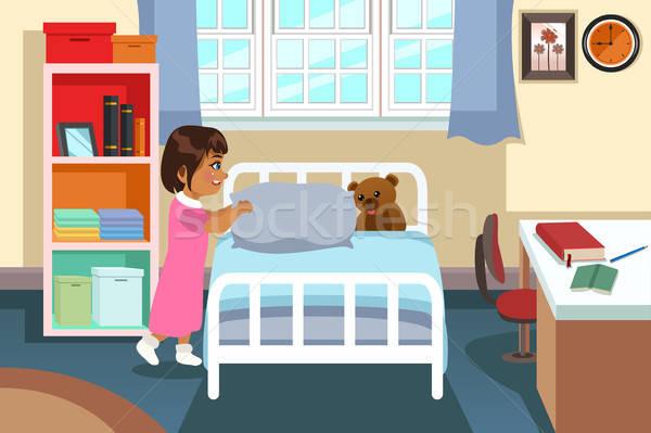 kleines m dchen schlafzimmer haus kind bett innenraum vektor grafiken artisticco. Black Bedroom Furniture Sets. Home Design Ideas