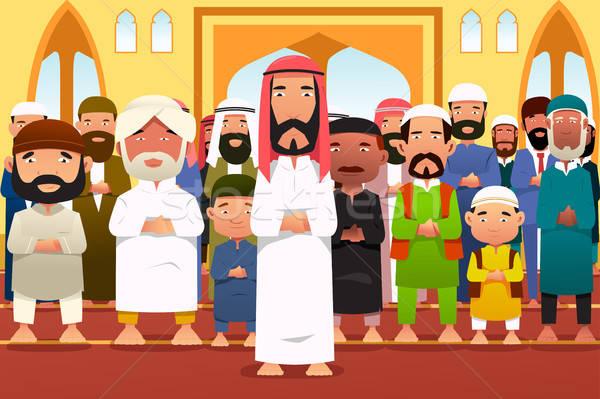 молиться мечети поклонения молитвы Cartoon мужчины Сток-фото © artisticco
