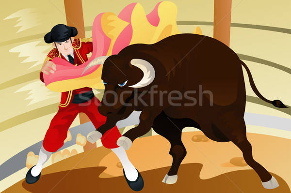 Bull fighting matador Stock photo © artisticco
