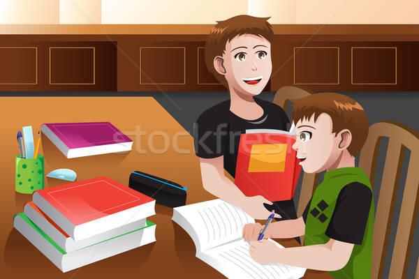 Ojciec pomoc syn praca domowa książek domu Zdjęcia stock © artisticco