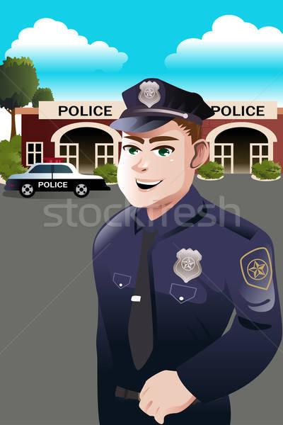 Poliziotto polizia stazione piedi uomo felice Foto d'archivio © artisticco
