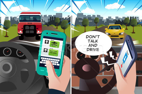 Concept of 'don't text and drive' and 'don't talk and drive' Stock photo © artisticco