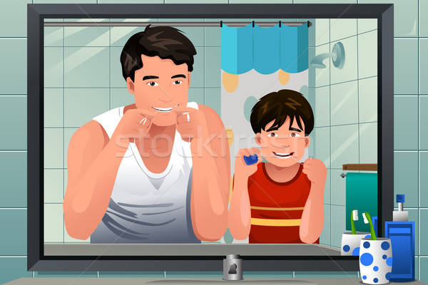 Father teaching his son how to floss Stock photo © artisticco