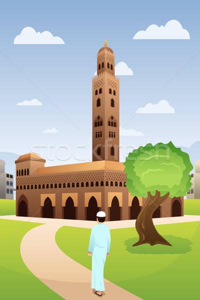 ムスリム 男 モスク 祈り 図面 漫画 ストックフォト © artisticco