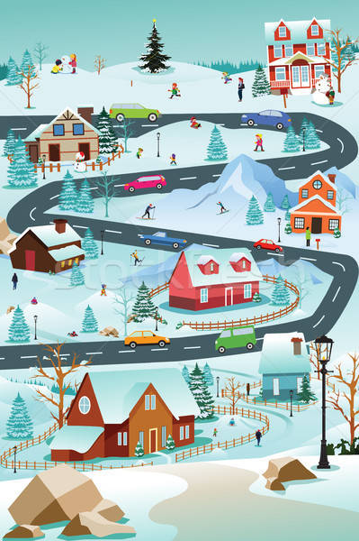Stock photo: Winter Village With People Cars and Buildings Illustration
