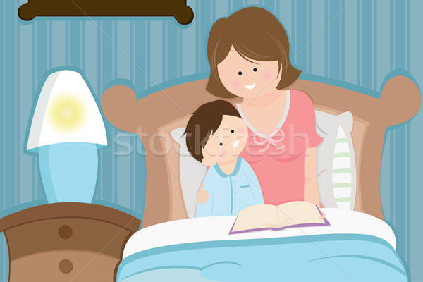 Mother and son reading bedtime story Stock photo © artisticco