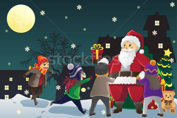 Santa Claus giving out Christmas presents to kids Stock photo © artisticco