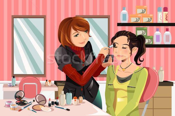 Sminkmester munka dolgozik ügyfél szépségszalon divat Stock fotó © artisticco