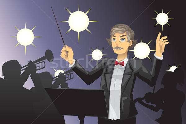 Orchestre homme concert bande cartoon Homme Photo stock © artisticco