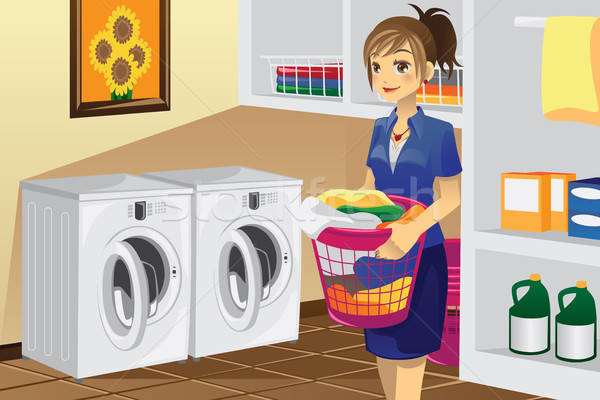 Housewife doing laundry Stock photo © artisticco