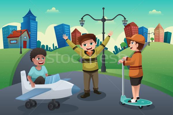 Enfants jouant rue banlieue heureux ville Photo stock © artisticco