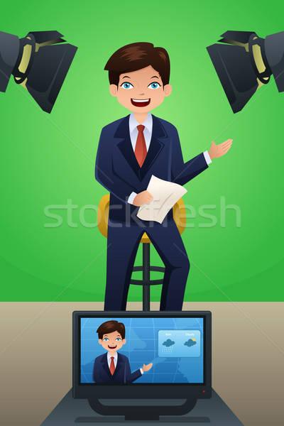 Tempo repórter tv trabalhar homem luz Foto stock © artisticco