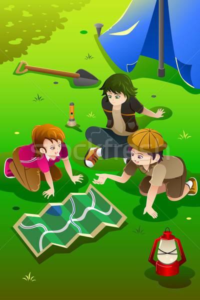 Ninos campamento de verano feliz sonrisa ninos diversión Foto stock © artisticco