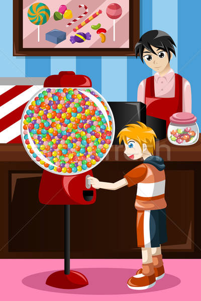 Kid buying candy from a vending machine Stock photo © artisticco