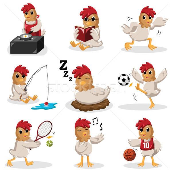 Kip verschillend activiteiten voetbal sport Stockfoto © artisticco