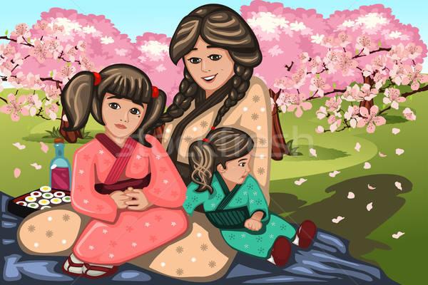 Stock fotó: Japán · nő · gyerekek · cseresznyevirág · tavasz · divat