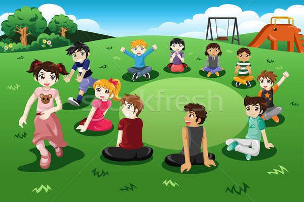 Kids playing duck duck goose Stock photo © artisticco