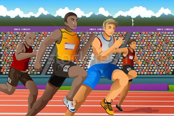 Personnes courir concurrence course sport jeunes Photo stock © artisticco