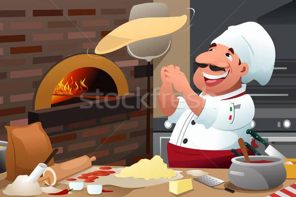 Pizza Chef Makes Pizza Dough Stock photo © artisticco