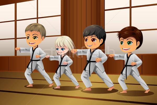 Gyerekek gyakorol küzdősportok lány gyerekek iskola Stock fotó © artisticco
