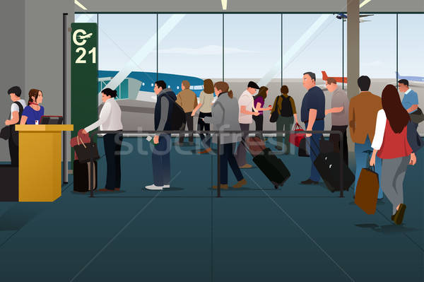 Plane Passengers Boarding the Plane on the Departure Gate Stock photo © artisticco