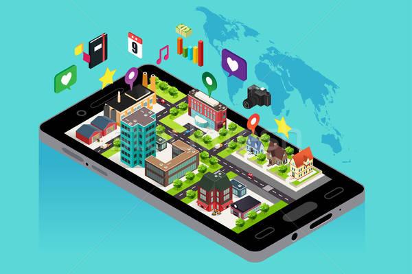 Telefonu komórkowego GPS Pokaż nawigacja telefonu technologii Zdjęcia stock © artisticco