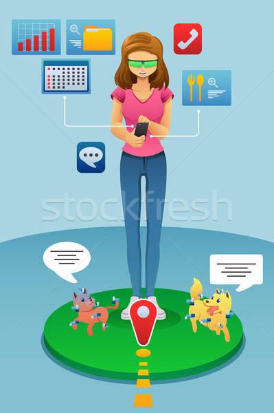 女性 演奏 現実 ゲーム 電話 女性 ストックフォト © artisticco