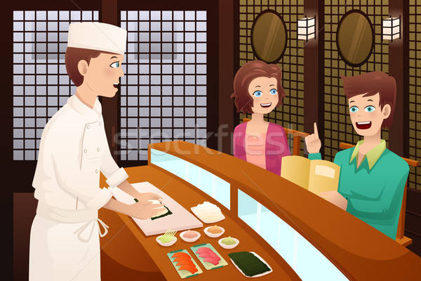 Customers ordering sushi  Stock photo © artisticco