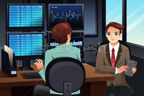 Stock trader looking at the stock market monitors Stock photo © artisticco