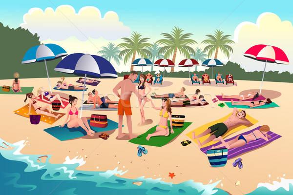 Persone prendere il sole spiaggia sorriso bikini Ocean Foto d'archivio © artisticco