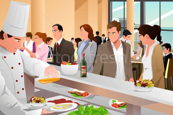 Gens d'affaires manger cafétéria vecteur affaires femme Photo stock © artisticco
