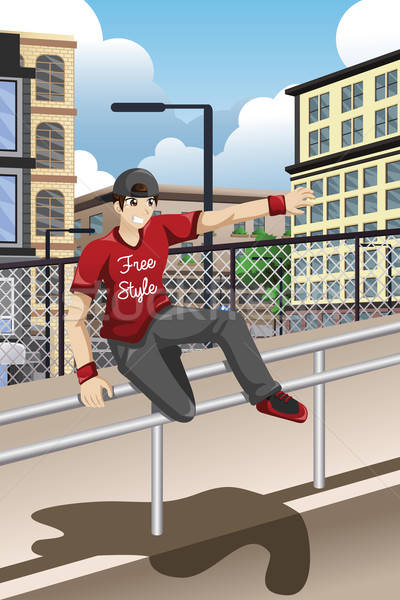 Parkour Athlete Jumping Over a Handrail Stock photo © artisticco