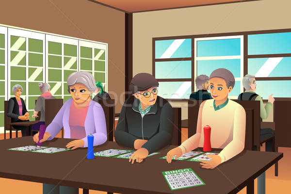 Idoso pessoas jogar bingo feliz juntos Foto stock © artisticco