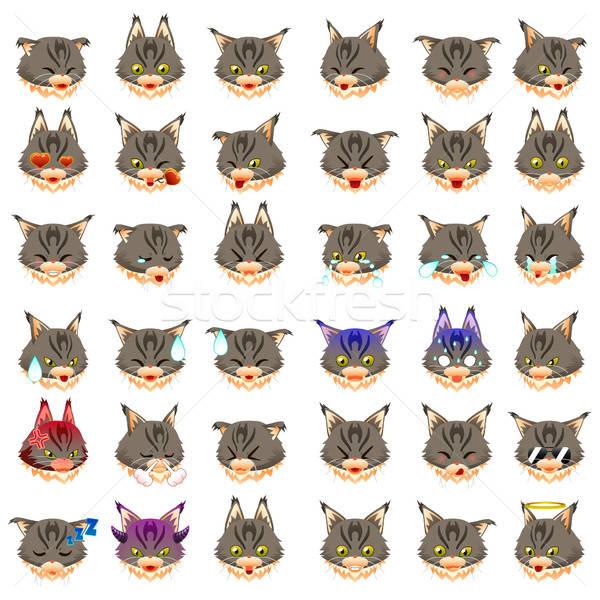 Maine kat emoticon tekening cartoon moderne Stockfoto © artisticco