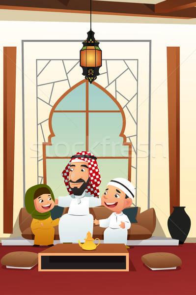 Muzułmanin arabski człowiek dzieci rodziny dziewczyna Zdjęcia stock © artisticco