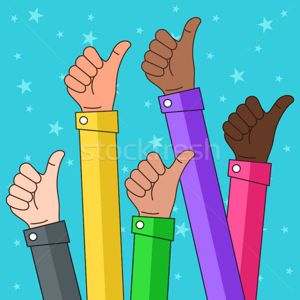 Multi Ethnic Thumbs up Illustration Stock photo © artisticco