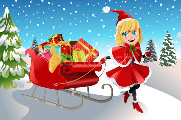 Christmas dziewczyna sanie pełny przedstawia Zdjęcia stock © artisticco