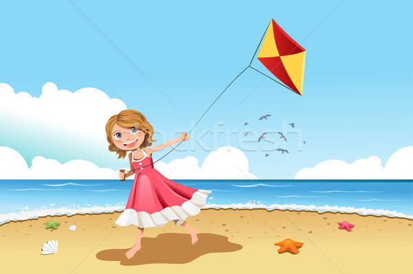 Foto stock: Menina · voador · pipa · little · girl · praia · paisagem
