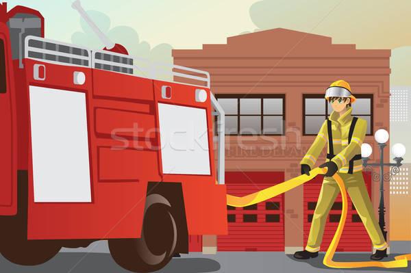 作業 消防 外に 消防車 仕事 ストックフォト © artisticco