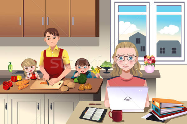 Modern family at home Stock photo © artisticco
