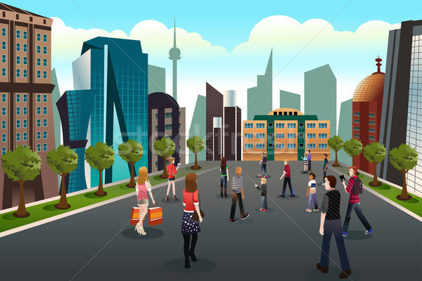 People walking outside toward high rise buildings Stock photo © artisticco