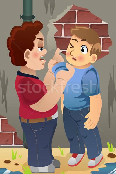 Fiú megfélemlítés barát kicsi gyerekek fiatal Stock fotó © artisticco