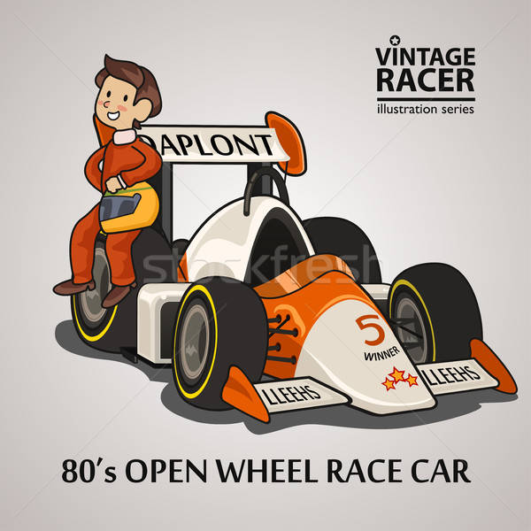 Race auto bestuurder auto glimlach tekening helm Stockfoto © artisticco